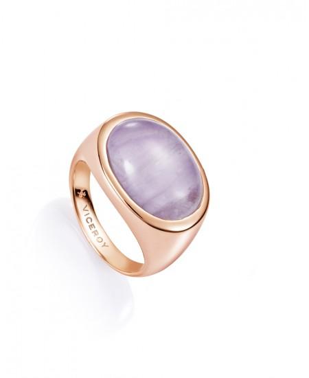 8628ecacac6f Anillo en plata chapada en oro rosa y piedra amatista